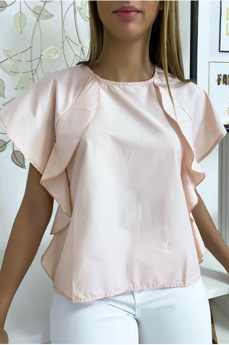Roze blouse met ruche en drie knoopjes op de schouders