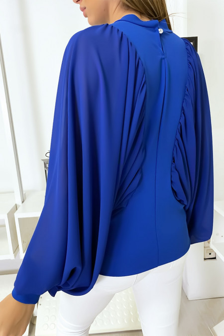 Royal bi-material blouse with wide crepe sleeves