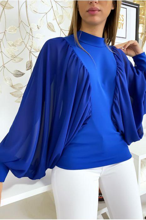 Koninklijke blouse van twee materialen met wijde crêpe mouwen