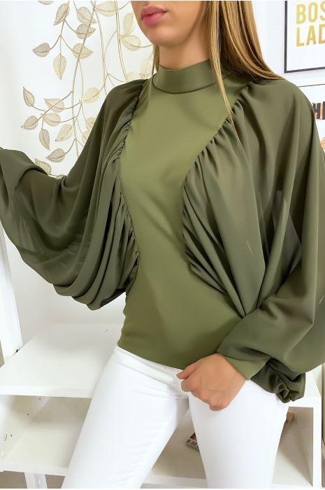 Kaki blouse van twee materialen met wijde crêpe mouwen