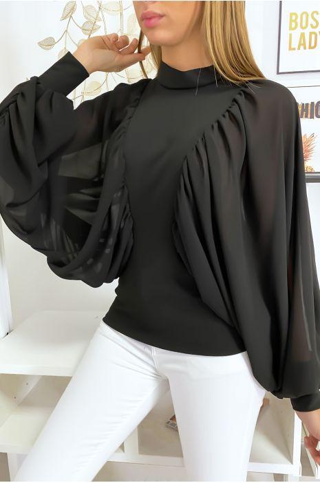 Zwarte blouse van twee materialen met wijde crêpe mouwen