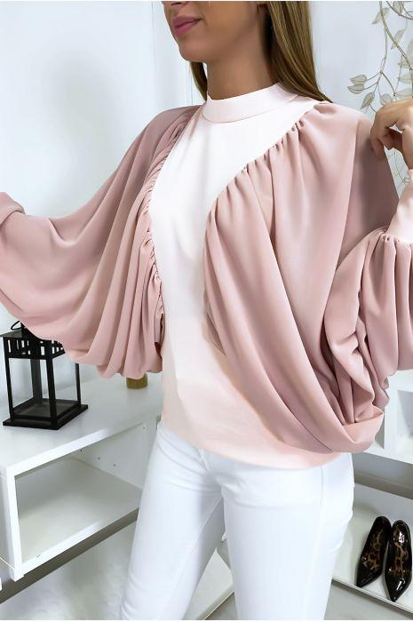 Roze blouse van twee materialen met wijde crêpe mouwen