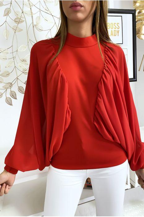 Rode blouse van twee materialen met wijde crêpe mouwen