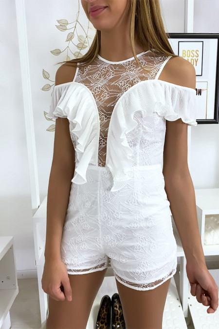 White lace playsuit with pretty pleated flounce