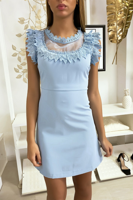 Blue dress with chiffon and lace at bust and collar.