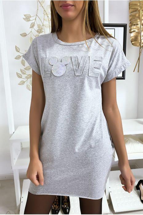 Robe t-shirt grise avec écriture LOVE bombé