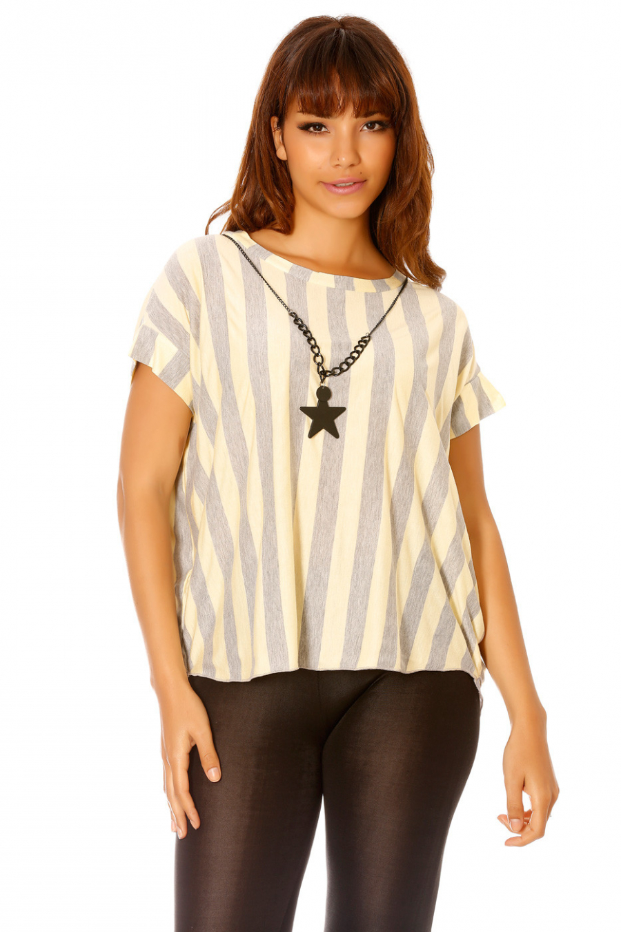 Tee-shirt rayé jaune, avec collier étoile. Femme MC 1722
