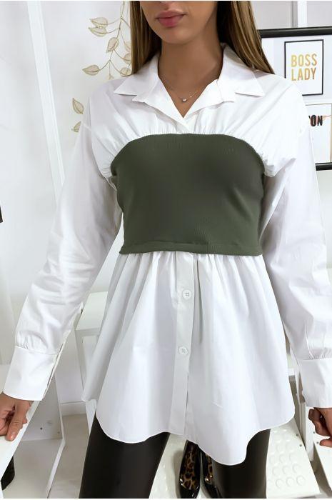 Ensemble chemise blanche et corset kaki