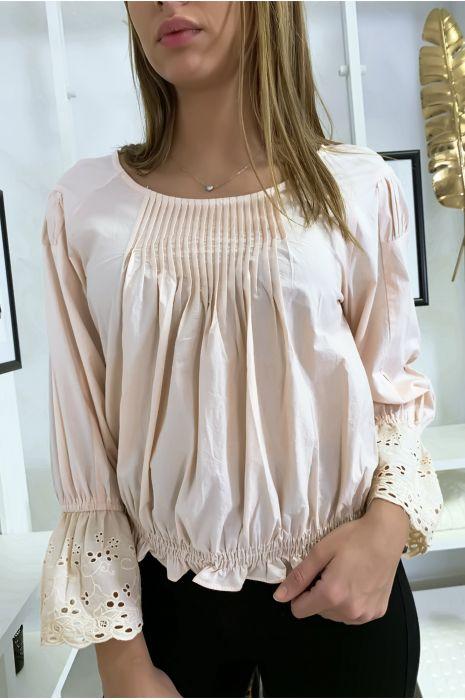 Roze geplooide buste blouse met kanten mouwen met ruches