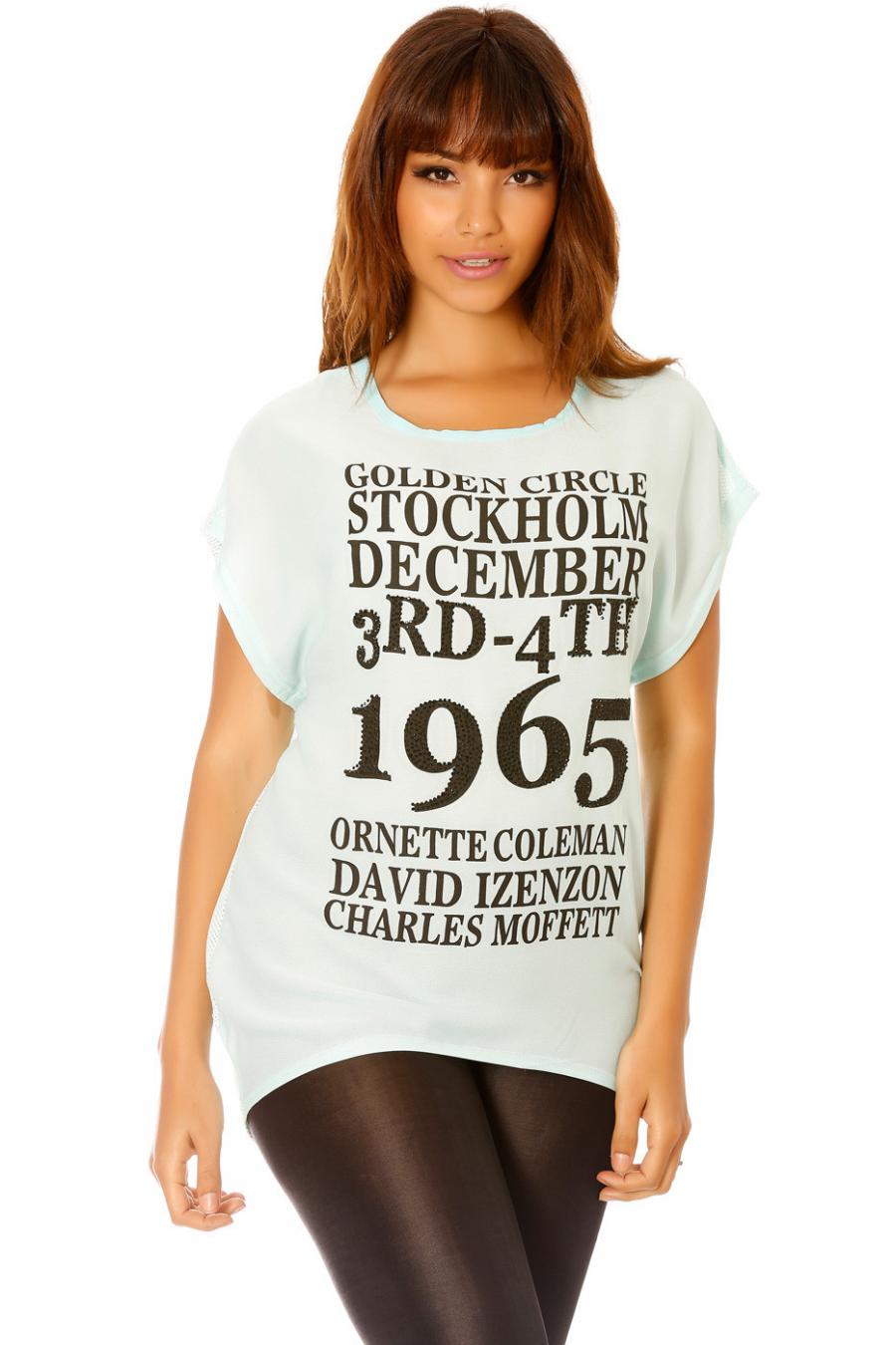 Tee-shirt turquoise à imprimé et résille au dos. Femme MS908