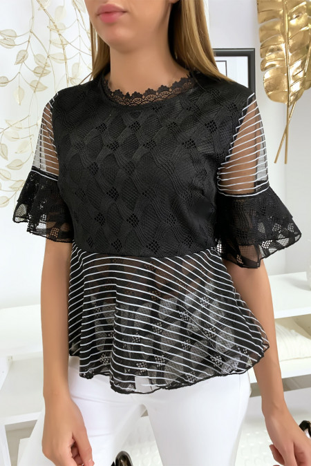 Black blouse with pretty lace patterns and flounce