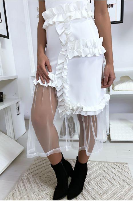 Zeer chique witte rok met ruche en tule