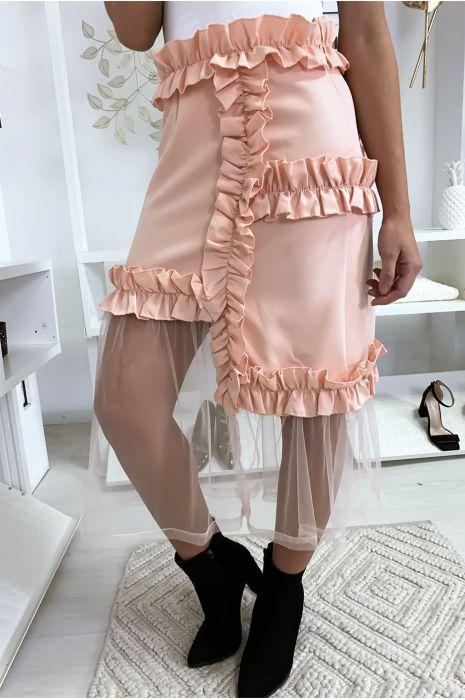 Zeer chique roze rok met ruche en tule