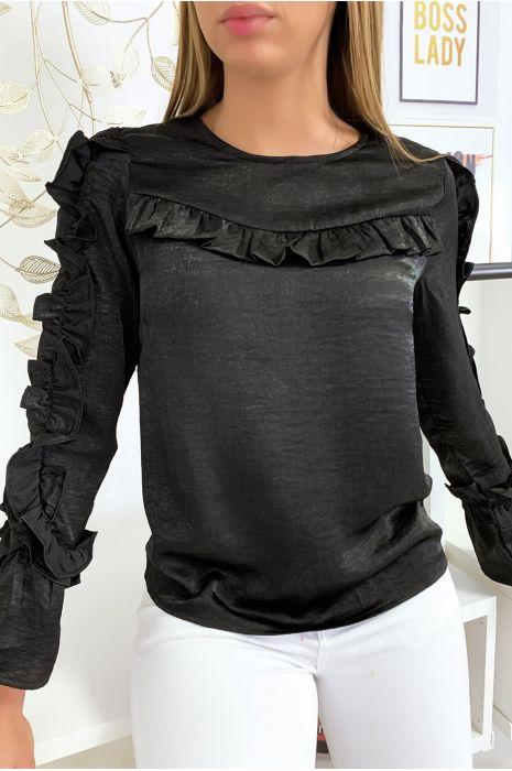 Zwarte blouse van glanzende stof met franjes op de buste en mouwen
