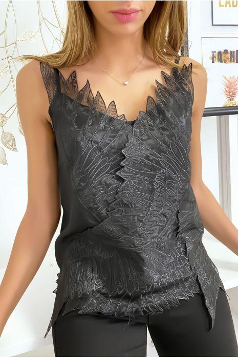 Débardeur noir avec tulle brodé en motif d'ailes
