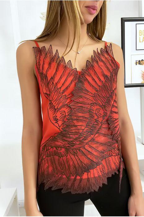 Débardeur rouge avec tulle brodé en motif d'ailes