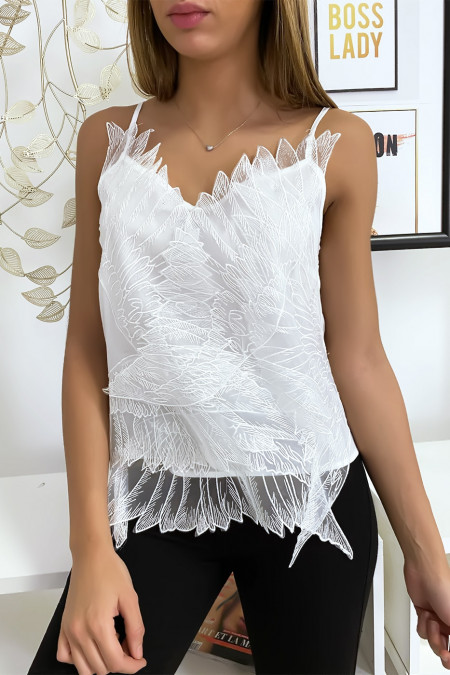 White tank top with embroidered tulle in wing motif