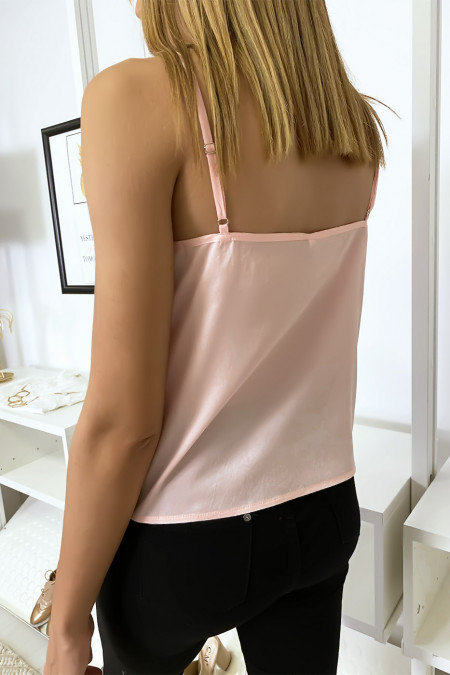 Pink tank top with embroidered tulle in wing motif