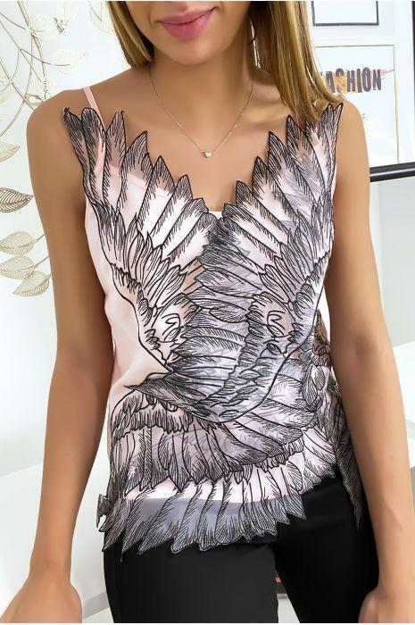 Débardeur rose avec tulle brodé en motif d'ailes