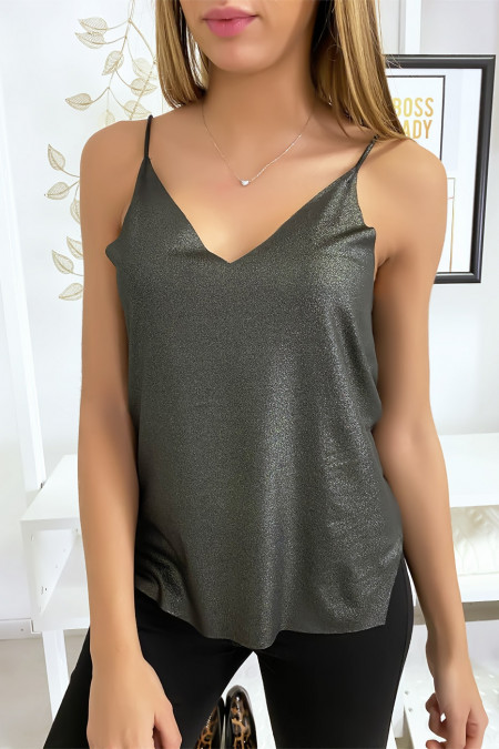 Shiny effect tank top in black