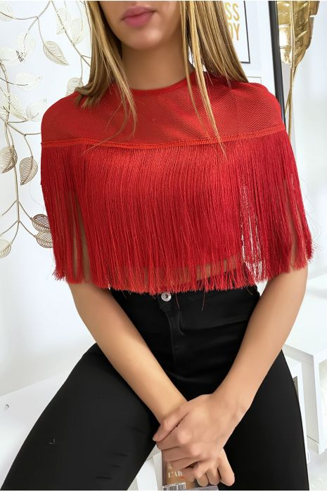 Crop top rouge à franges