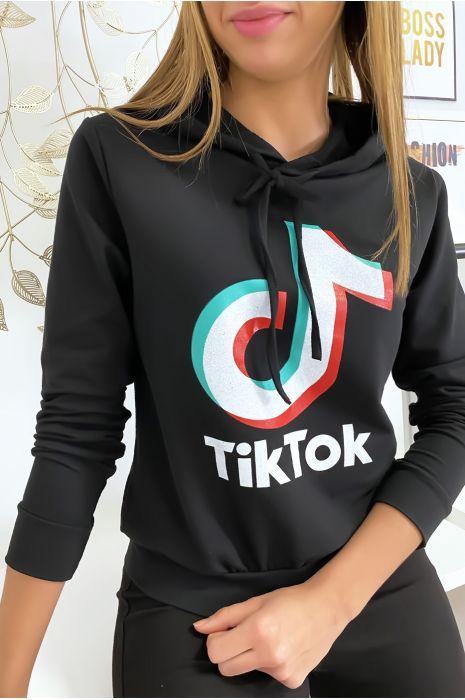 Pull sweat noir logo Tik Tok