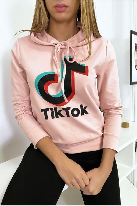 Pull sweat rose logo Tik Tok