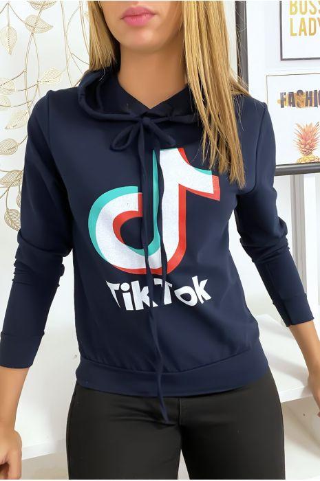 Navy sweater met Tik Tok logo