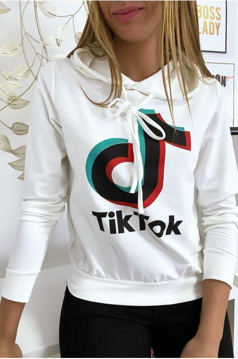 Pull sweat blanc logo Tik Tok