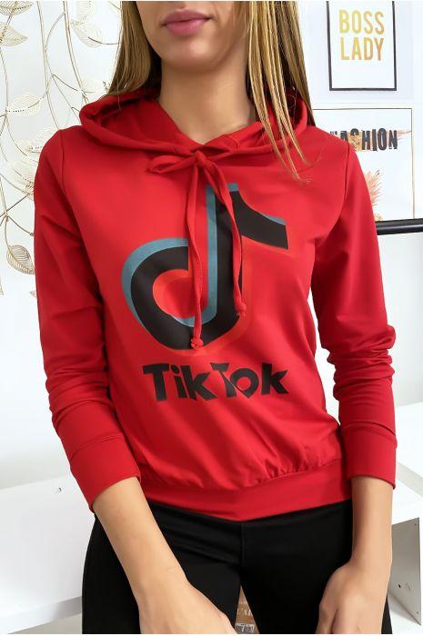 Pull sweat rouge logo Tik Tok