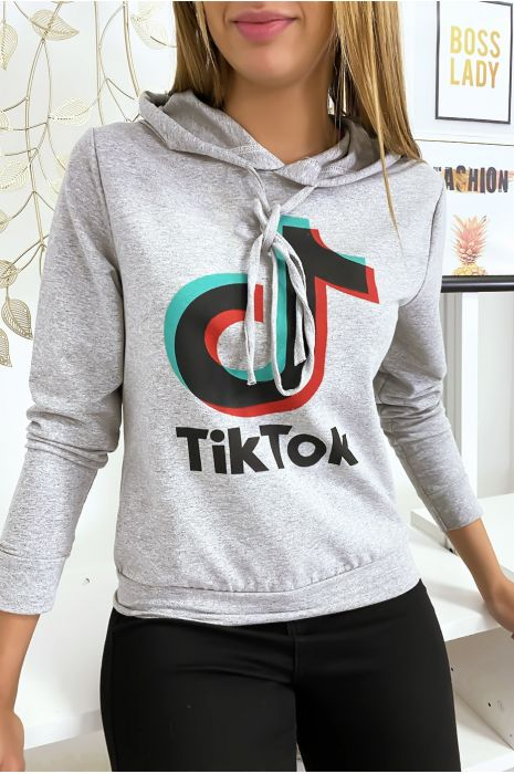 Pull sweat gris logo Tik Tok