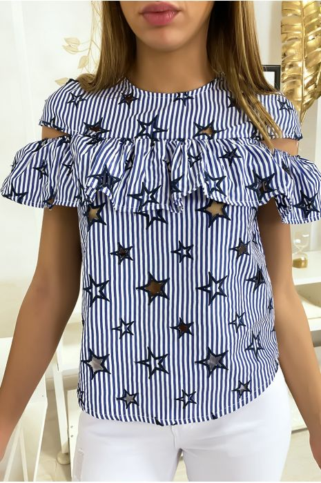 Top marine rayé avec étoiles