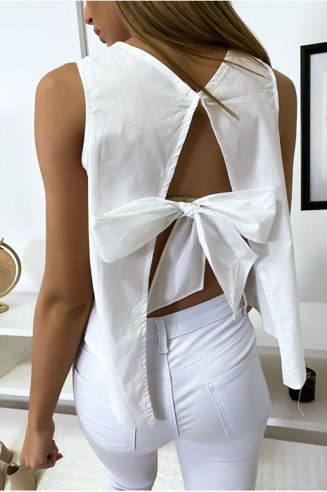 Top blanc dos nu avec noeud