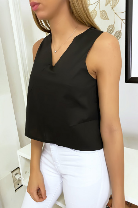 Black backless top with bow