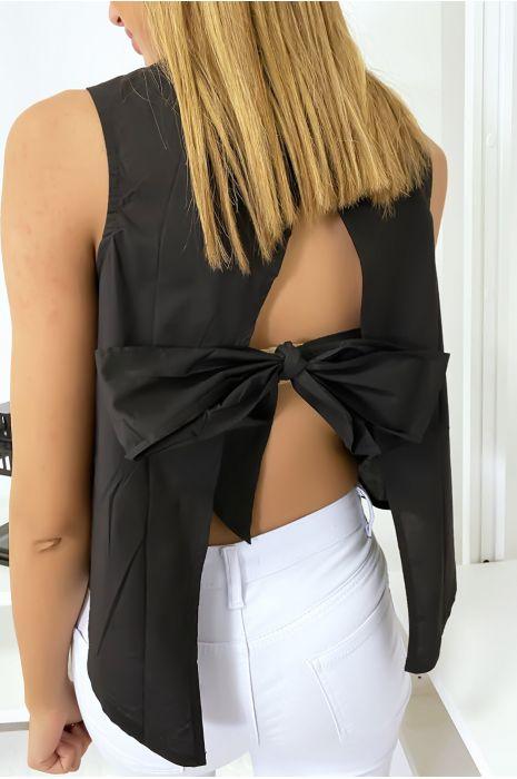 Top noir dos nu avec noeud