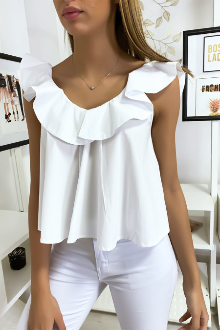Pretty white ruffle top