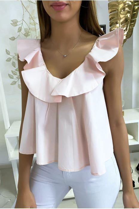 Mooie roze top met ruches