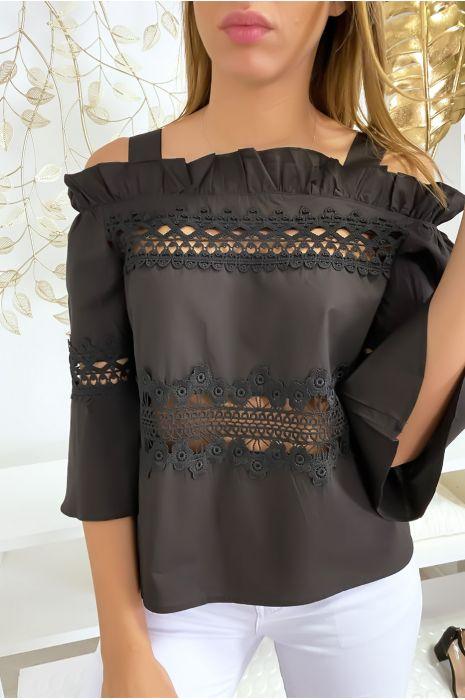 Haut blouse noir à crochets
