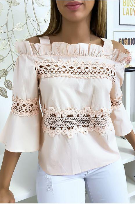 Haut blouse rose à crochets