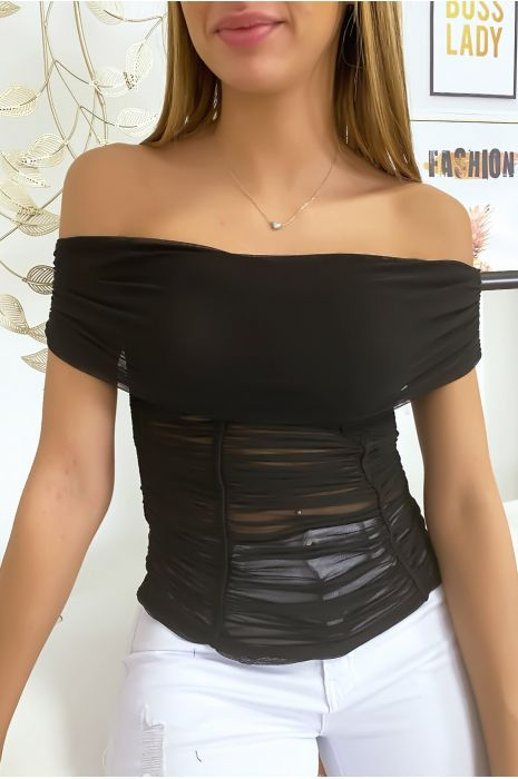 Zwarte mesh bardottop