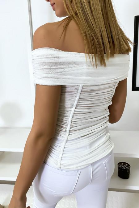 Witte mesh bardottop