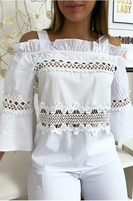 Haut blouse blanc à crochets