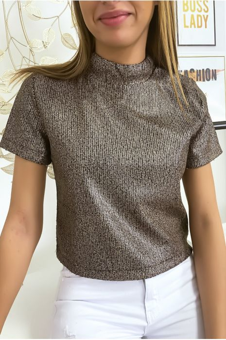 Top à paillettes doré marron