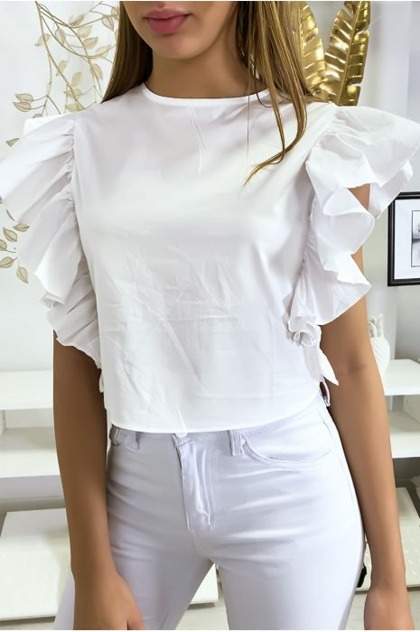 Zeer chique witte blouse met volant aan de mouwen