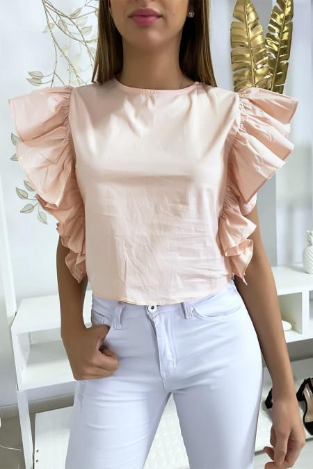 Zeer chique roze blouse met volant aan de mouwen