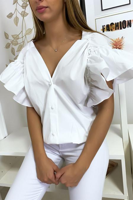 Blouse chemise blanche boutonnés à l'avant  avec volant aux manches et fronce aux épaules