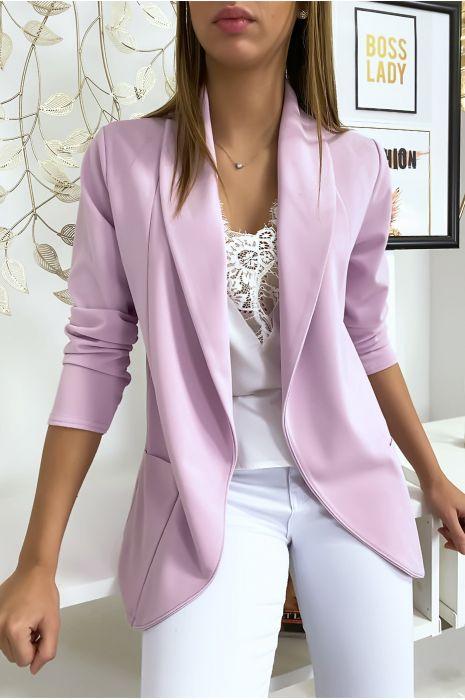 Veste Blazer violet col châle avec poches. Blazer femme 1526