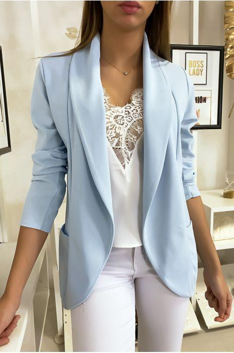 Veste Blazer turquoise col châle avec poches. Blazer femme 1526