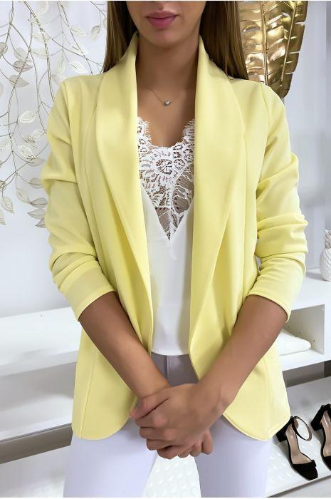 Veste Blazer jaune col châle avec poches. Blazer femme 1526