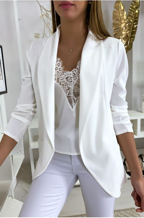 Veste Blazer blanche col châle avec poches. Blazer femme 1526